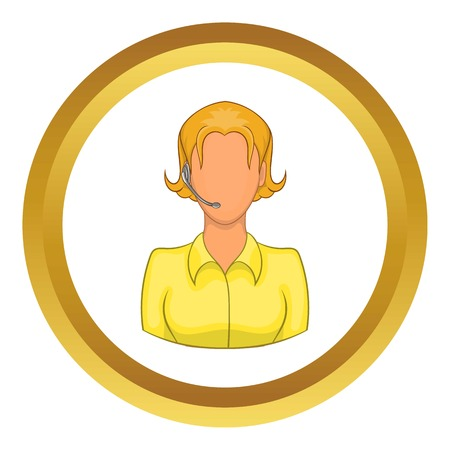 Support phone operator in headset vector icon in golden circle, cartoon style isolated on white background Illustration