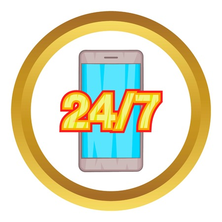 phone support: 24 7 phone support vector icon in golden circle, cartoon style isolated on white background Illustration