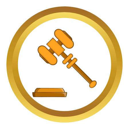 Judge gavel vector icon in golden circle, cartoon style isolated on white background Illustration