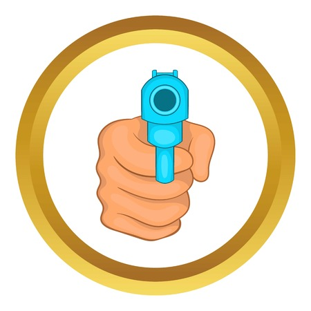 Hand pointing with the gun vector icon in golden circle, cartoon style isolated on white background