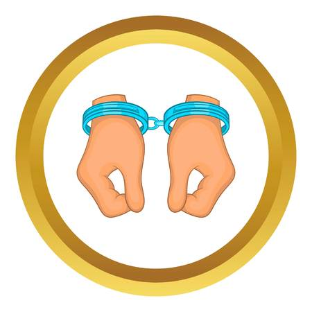 handcuffed: Hands in handcuffs vector icon in golden circle, cartoon style isolated on white background