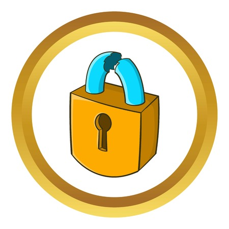 burgle: Padlock which is broken vector icon in golden circle, cartoon style isolated on white background Illustration