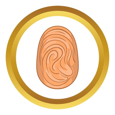 theft proof: Fingerprint vector icon in golden circle, cartoon style isolated on white background