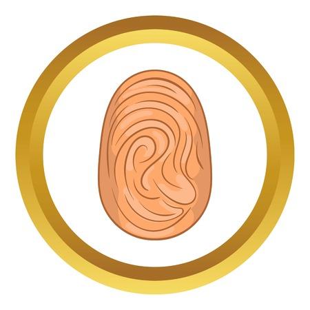 fingermark: Fingerprint vector icon in golden circle, cartoon style isolated on white background