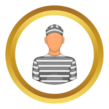 handcuffed: Prisoner vector icon in golden circle, cartoon style isolated on white background