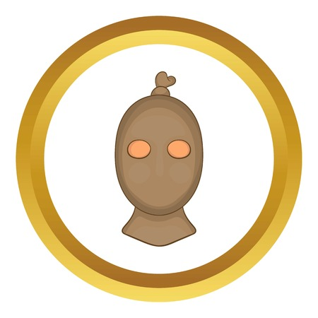 rowdy: Thief with stocking over his head vector icon in golden circle, cartoon style isolated on white background