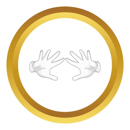 conjure: Magician hands in white gloves vector icon in golden circle, cartoon style isolated on white background