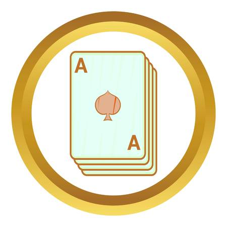 ace of spades: Ace of spades, playing cards vector icon in golden circle, cartoon style isolated on white background