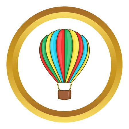 aerostatics: Colorful air balloon vector icon in golden circle, cartoon style isolated on white background