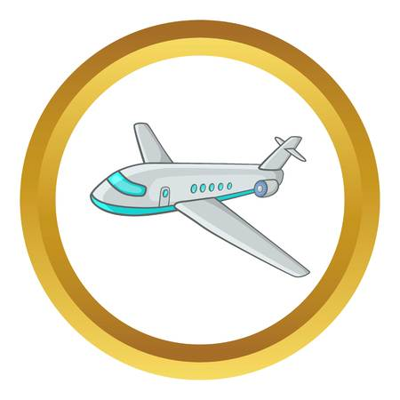 Passenger airliner vector icon in golden circle, cartoon style isolated on white background Illustration