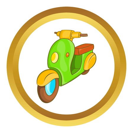 Scooter motorbike vector icon in golden circle, cartoon style isolated on white background