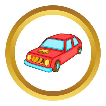 Red car vector icon in golden circle, cartoon style isolated on white background