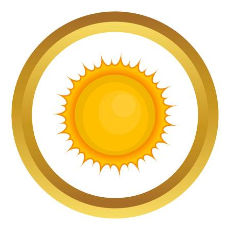 faraway: Sun vector icon in golden circle, cartoon style isolated on white background