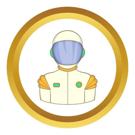 Astronaut vector icon in golden circle, cartoon style isolated on white background