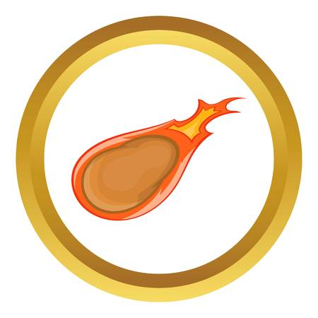 Comet vector icon in golden circle, cartoon style isolated on white background Illustration
