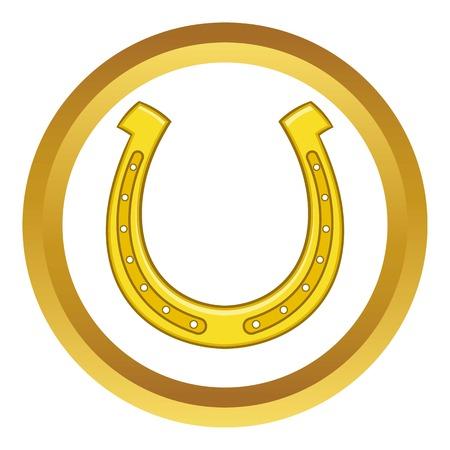 Horseshoe vector icon in golden circle, cartoon style isolated on white background