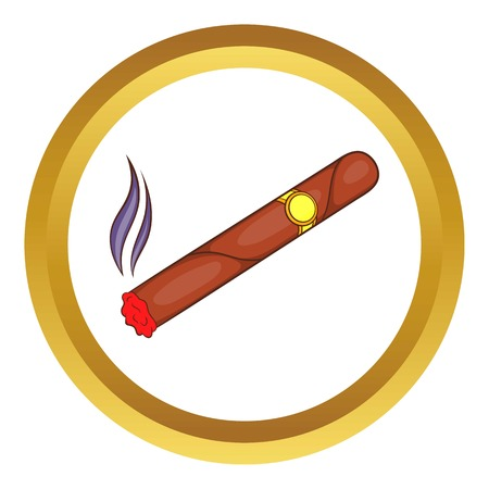 Cigar vector icon in golden circle, cartoon style isolated on white background