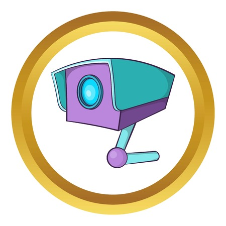 prevalence: CCTV camera vector icon in golden circle, cartoon style isolated on white background Illustration