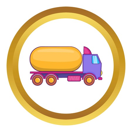Truck carries petrol vector icon in golden circle, cartoon style isolated on white background Illustration