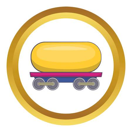 tank car: Tank car for gasoline vector icon in golden circle, cartoon style isolated on white background