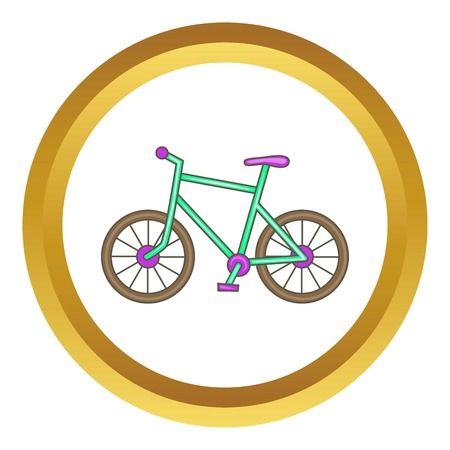 spoke: Bicycle vector icon in golden circle, cartoon style isolated on white background