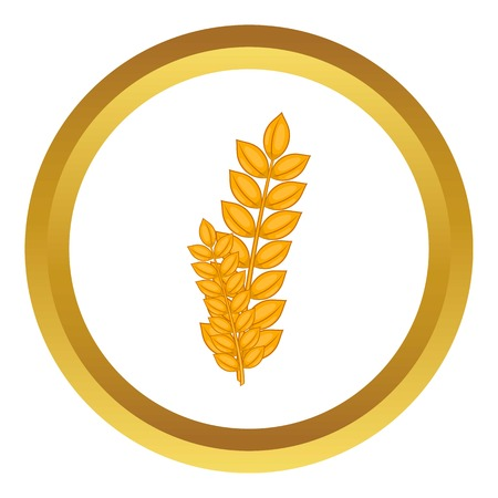 Wheat germ vector icon in golden circle, cartoon style isolated on white background Illustration