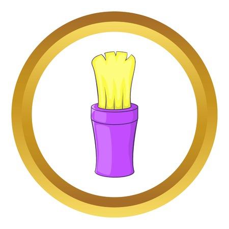 Shaving brush vector icon in golden circle, cartoon style isolated on white background Illustration