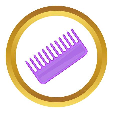 Toothed comb vector icon in golden circle, cartoon style isolated on white background