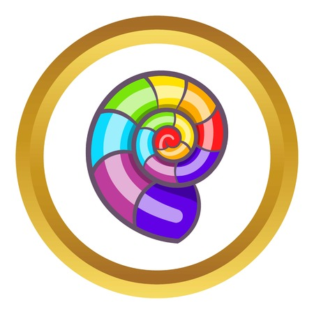 Curl in colours of LGBT vector icon in golden circle, cartoon style isolated on white background