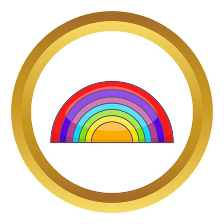 parade: Rainbow LGBT vector icon in golden circle, cartoon style isolated on white background Illustration