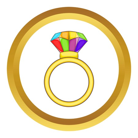 Ring LGBT vector icon in golden circle, cartoon style isolated on white background
