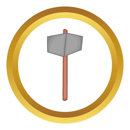 Sledgehammer vector icon in golden circle, cartoon style isolated on white background Illustration