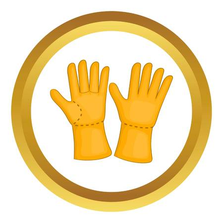 Rubber gloves vector icon in golden circle, cartoon style isolated on white background