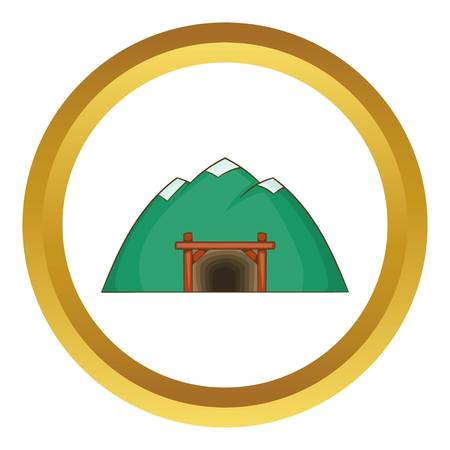 mine site: Mine in mountain vector icon in golden circle, cartoon style isolated on white background