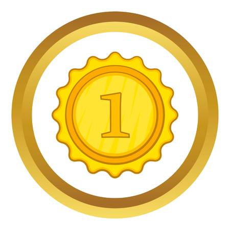 Champion gold medal vector icon in golden circle, cartoon style isolated on white background