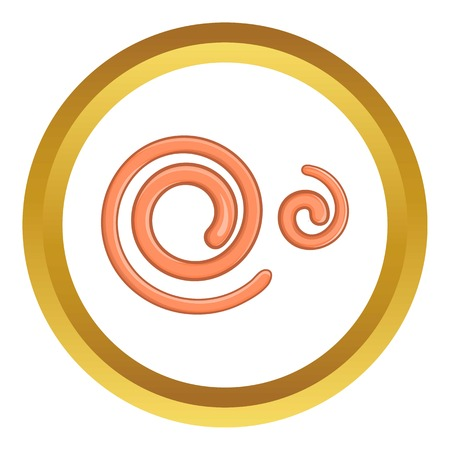 ascaris: Parasitic nematode worms vector icon in golden circle, cartoon style isolated on white background Illustration