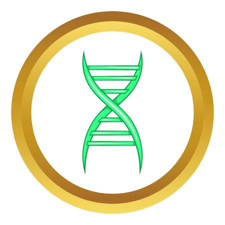 cloning: DNA strand vector icon in golden circle, cartoon style isolated on white background