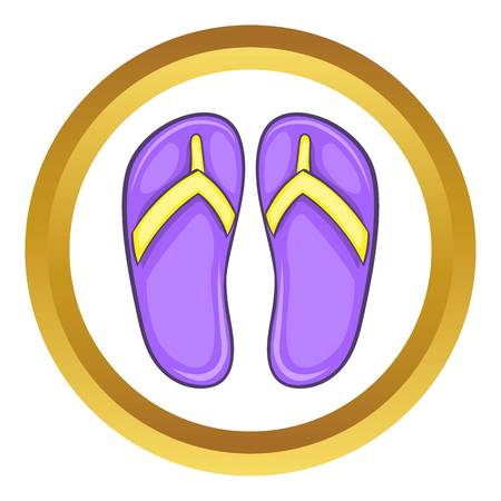 sandals isolated: Flip flop sandals vector icon in golden circle, cartoon style isolated on white background
