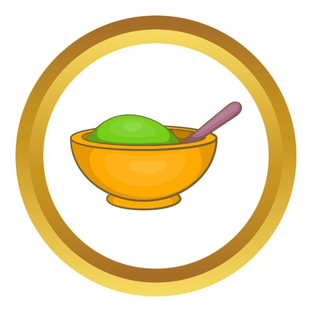 Yellow mortar and pestle vector icon in golden circle, cartoon style isolated on white background