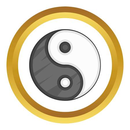 yin y yan: Ying yang vector icon in golden circle, cartoon style isolated on white background