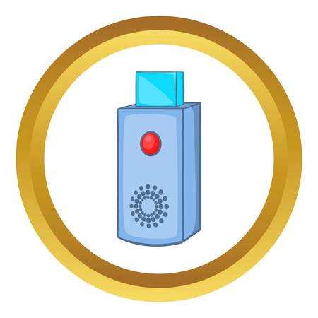 microdrive: USB flash drive vector icon in golden circle, cartoon style isolated on white background Illustration