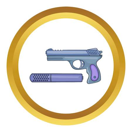the silencer: Pistol and silencer vector icon in golden circle, cartoon style isolated on white background