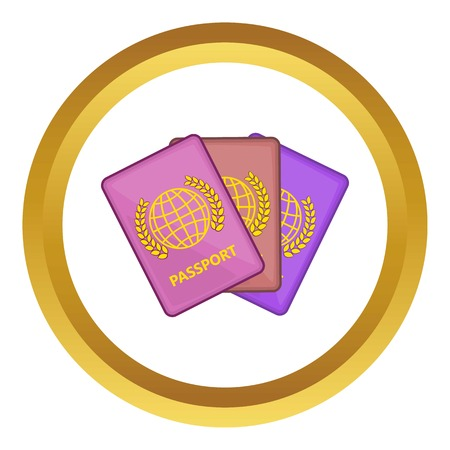 Three passports vector icon in golden circle, cartoon style isolated on white background
