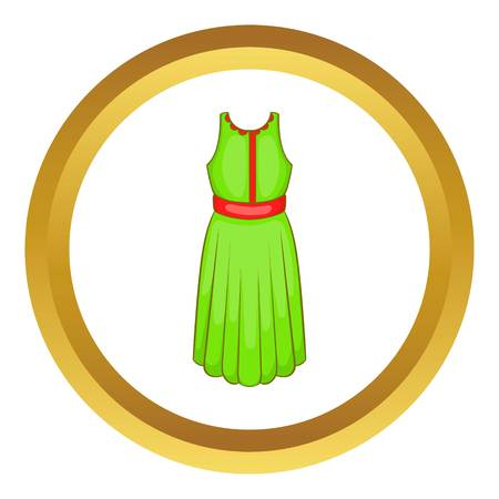 Green dress vector icon in golden circle, cartoon style isolated on white background