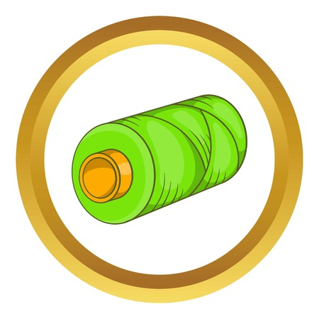 Green bobbin of thread vector icon in golden circle, cartoon style isolated on white background