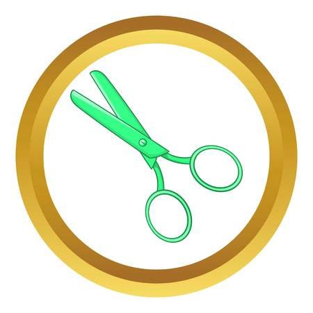 Tailor shears vector icon in golden circle, cartoon style isolated on white background