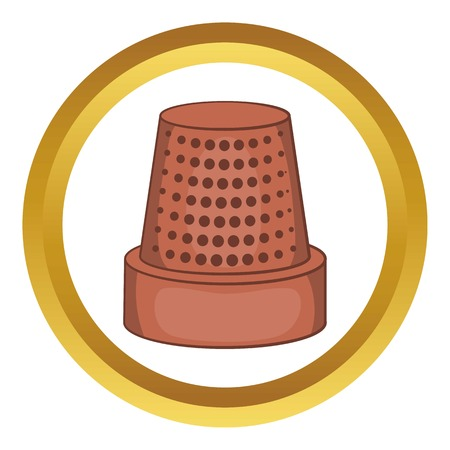 thimble: Thimble vector icon in golden circle, cartoon style isolated on white background Illustration