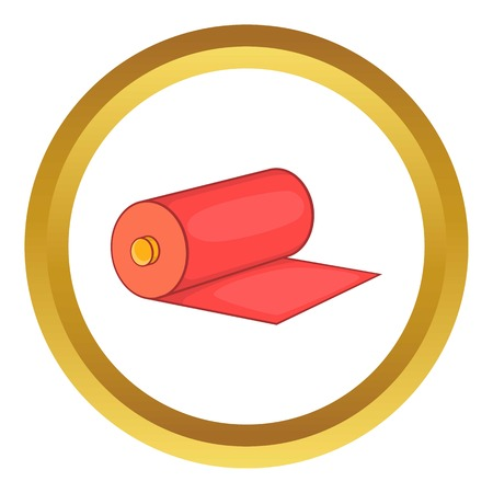 wiping: Red fabric roll vector icon in golden circle, cartoon style isolated on white background Illustration