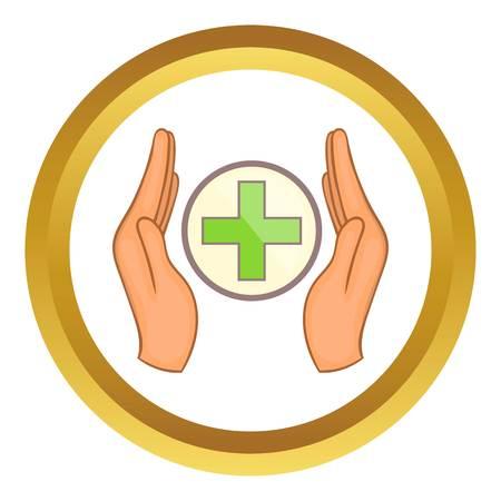 donacion de organos: Medicine concept, hands holding cross vector icon in golden circle, cartoon style isolated on white background