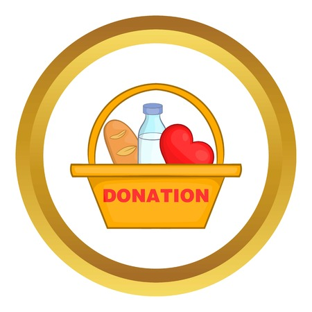 donation drive: Donation box with food vector icon in golden circle, cartoon style isolated on white background